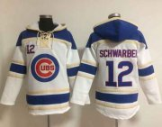 Wholesale Cheap Cubs #12 Kyle Schwarber White Sawyer Hooded Sweatshirt MLB Hoodie