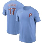 Wholesale Cheap Philadelphia Phillies #17 Rhys Hoskins Nike Name & Number T-Shirt Light Blue