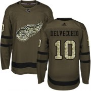 Wholesale Cheap Adidas Red Wings #10 Alex Delvecchio Green Salute to Service Stitched NHL Jersey