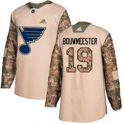 Wholesale Cheap Adidas Blues #19 Jay Bouwmeester Camo Authentic 2017 Veterans Day Stitched NHL Jersey