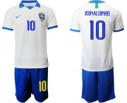 Wholesale Cheap Brazil #10 Ronaldinho White Soccer Country Jersey