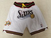 Wholesale Cheap 76ers White Just Don Throwback Mesh Shorts