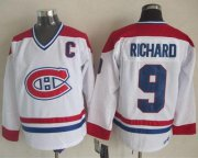 Wholesale Cheap Canadiens #9 Maurice Richard White CH-CCM Throwback Stitched NHL Jersey