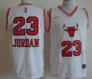 Wholesale Cheap Men's Chicago Bulls #23 Michael Jordan White Bull Head Fashion Stitched NBA Nike Swingman Jersey