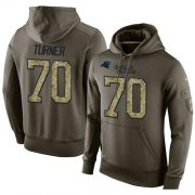 Wholesale Cheap NFL Men's Nike Carolina Panthers #70 Trai Turner Stitched Green Olive Salute To Service KO Performance Hoodie