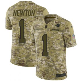 Wholesale Cheap Nike Panthers #1 Cam Newton Camo Men\'s Stitched NFL Limited 2018 Salute To Service Jersey