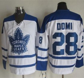 Wholesale Cheap Maple Leafs #28 Tie Domi White CCM Throwback Winter Classic Stitched NHL Jersey