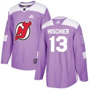 Wholesale Cheap Adidas Devils #13 Nico Hischier Purple Authentic Fights Cancer Stitched NHL Jersey