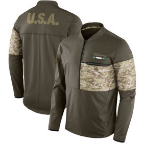 Wholesale Cheap Men\'s Miami Dolphins Nike Olive Salute to Service Sideline Hybrid Half-Zip Pullover Jacket