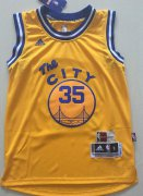 Cheap Youth Golden State Warriors #35 Kevin Durant Yellow The City Swingman Basketball Jersey