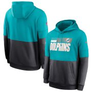 Wholesale Cheap Miami Dolphins Nike Sideline Impact Lockup Performance Pullover Hoodie Aqua Charcoal