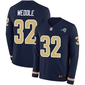 Wholesale Cheap Nike Rams #32 Eric Weddle Navy Blue Team Color Men\'s Stitched NFL Limited Therma Long Sleeve Jersey
