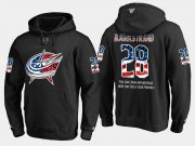 Wholesale Cheap Blue Jackets #28 Oliver Bjorkstrand NHL Banner Wave Usa Flag Black Hoodie