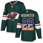 Wholesale Cheap Adidas Wild #22 Nino Niederreiter Green Home Authentic USA Flag Stitched Youth NHL Jersey