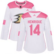 Wholesale Cheap Adidas Ducks #14 Adam Henrique White/Pink Authentic Fashion Women's Stitched NHL Jersey