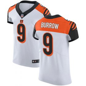 Wholesale Cheap Nike Bengals #9 Joe Burrow White Men\'s Stitched NFL New Elite Jersey