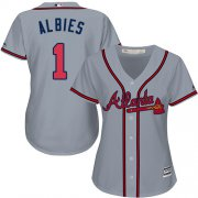 Wholesale Cheap Braves #1 Ozzie Albies Grey Road Women's Stitched MLB Jersey