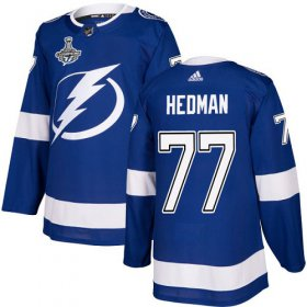 Cheap Adidas Lightning #77 Victor Hedman Blue Home Authentic Youth 2020 Stanley Cup Champions Stitched NHL Jersey