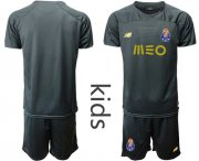 Wholesale Cheap Oporto Blank Black Goalkeeper Kid Soccer Club Jersey