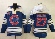Wholesale Cheap Cubs #27 Addison Russell Blue Sawyer Hooded Sweatshirt MLB Hoodie