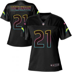 Wholesale Cheap Nike Chargers #21 LaDainian Tomlinson Black Women\'s NFL Fashion Game Jersey