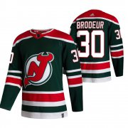 Wholesale Cheap New Jersey Devils #30 Martin Brodeur Green Men's Adidas 2020-21 Reverse Retro Alternate NHL Jersey