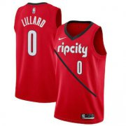 Wholesale Cheap Men's Portland Trail Blazers 0 Damian Lillard Nike Red 2018-19 Swingman Earned Edition Jersey