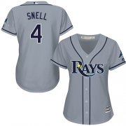 Wholesale Cheap Rays #4 Blake Snell Grey Road Women's Stitched MLB Jersey