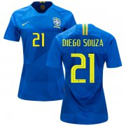 Wholesale Cheap Women's Brazil #21 Diego Souza Away Soccer Country Jersey