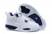 Wholesale Cheap Kid's Air Jordan 4 Shoes White/blue