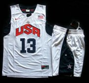 Wholesale Cheap 2012 Olympic USA Team #13 Chris Paul White Basketball Jerseys & Shorts Suit