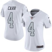 Wholesale Cheap Nike Raiders #4 Derek Carr White Women's Stitched NFL Limited Rush Jersey