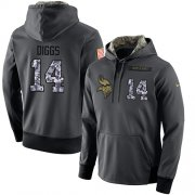 Wholesale Cheap NFL Men's Nike Minnesota Vikings #14 Stefon Diggs Stitched Black Anthracite Salute to Service Player Performance Hoodie