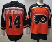 Wholesale Cheap Men's Philadelphia Flyers #14 Sean Couturier Orange Adidas 2020-21 Stitched NHL Jersey