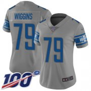 Wholesale Cheap Nike Lions #79 Kenny Wiggins Gray Women's Stitched NFL Limited Inverted Legend 100th Season Jersey