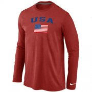 Wholesale Cheap USA Olympics USA Flag Collection Locker Room Long Sleeve T-Shirt Red