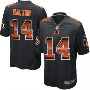 Wholesale Cheap Nike Bengals #14 Andy Dalton Black Team Color Men's Stitched NFL Limited Strobe Jersey