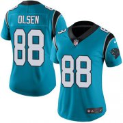 Wholesale Cheap Nike Panthers #88 Greg Olsen Blue Women's Stitched NFL Limited Rush Jersey