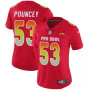 Wholesale Cheap Nike Chargers #53 Mike Pouncey Red Women's Stitched NFL Limited AFC 2019 Pro Bowl Jersey