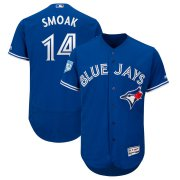 Wholesale Cheap Blue Jays #14 Justin Smoak Blue 2019 Spring Training Flex Base Stitched MLB Jersey