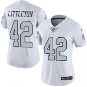 Wholesale Cheap Nike Raiders #42 Cory Littleton White Women's Stitched NFL Limited Rush Jersey