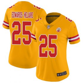Wholesale Cheap Nike Chiefs #25 Clyde Edwards-Helaire Gold Women\'s Stitched NFL Limited Inverted Legend Jersey