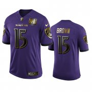Wholesale Cheap Baltimore Ravens #15 Marquise Brown Men's Nike Purple Team 25th Season Golden Limited NFL Jersey