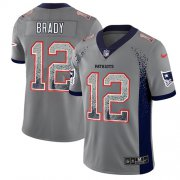 Wholesale Cheap Nike Patriots #12 Tom Brady Grey Men's Stitched NFL Limited Rush Drift Fashion Jersey