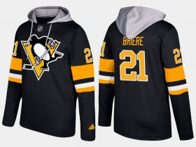 Wholesale Cheap Penguins #21 Michel Briere Black Name And Number Hoodie