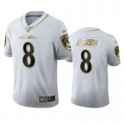 Wholesale Cheap Baltimore Ravens #8 Lamar Jackson Men's Nike White Golden Edition Vapor Limited NFL 100 Jersey