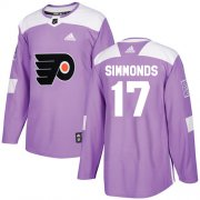 Wholesale Cheap Adidas Flyers #17 Wayne Simmonds Purple Authentic Fights Cancer Stitched Youth NHL Jersey