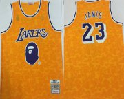 Wholesale Cheap Lakers Bape 23 Lebron James Yellow 1996-97 Hardwood Classics Jersey