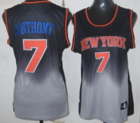 Wholesale Cheap New York Knicks #7 Carmelo Anthony Black/Gray Fadeaway Fashion Womens Jersey