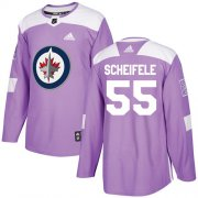 Wholesale Cheap Adidas Jets #55 Mark Scheifele Purple Authentic Fights Cancer Stitched NHL Jersey